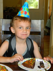 He turned five and HAD SAFE CAKE.