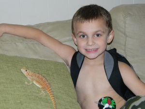 Played with his lizard